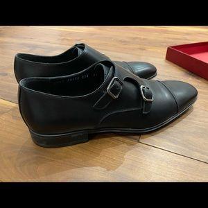 New Ferragamo Double Monkstrap Dress Shoes - Black